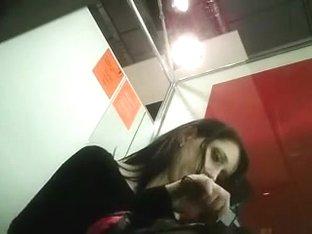 Slim brunette cutie stripping in front of a hidden cam