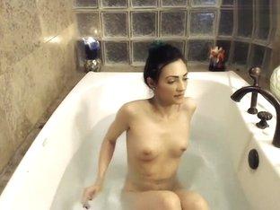 Brunette Good69vibez sitting in the bath