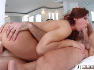 AllInternal Threesome ass sex for gorgeous brunette Regina Crystal