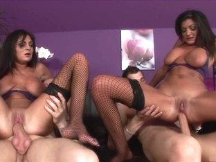 Fabulous pornstars Kit Lee and Kat Lee in exotic lingerie, dp adult movie
