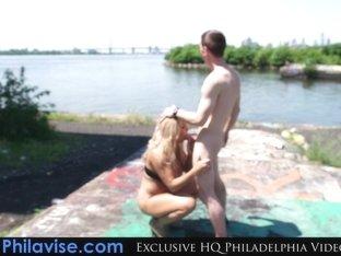 PHILAVISE MILFS- Alyssa Lynn sits on a big cock in publiC