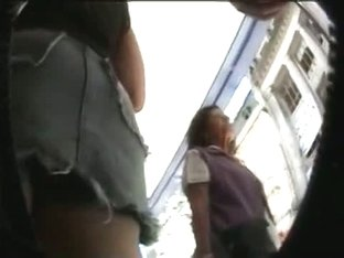 Voyeur video of upskirt shopping mall buffet of various ass