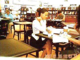 Girl from the library seducing upskirtingvoyeured