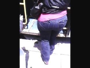 BBW Ebony In Jeans Getting On Bus