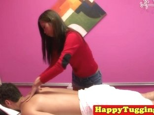 asian masseuse Kimmy Lee jerking cock