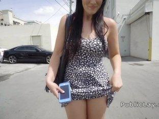 Amarican brunette loves sex in public