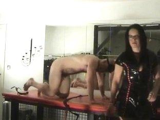 2 mistresses castigate a bondman