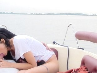 Ella in boat sex scene with a cute bimbo sucking dick