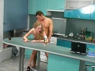 High heel porn in the kitchen