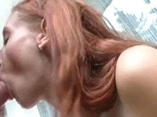 Slim Redhead Plays In Her Hose Then Makes Him Cum