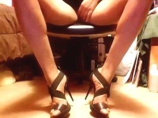 Sexy Black Wide-strap open toe stilettos and upskirt