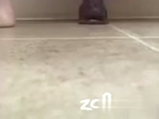 Big dildo suction cupped to the floor