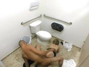 Hardcore fuck in a public toilet