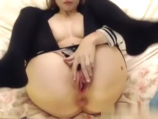 Breasty honey masturbates with her toy