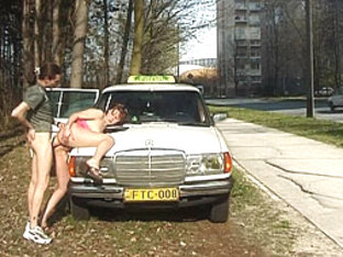 Naughty lady in full action outdoor