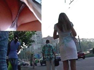 Strap hiding betwixt cute ass cheeks up petticoat