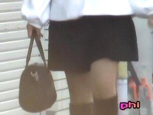 Cutie pie who walks like a model gets skirt sharked here