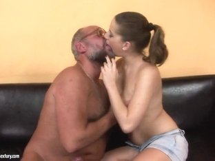Saucy chick Nicole gets her clean shaven hole slammed by a gigantic cock
