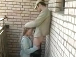 juvenile blond engulfing on the veranda