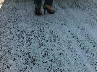 Stuck in the snow in heels