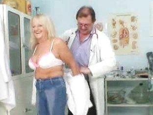 Blondie granny Dorota geriatric gyno checkup