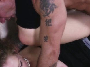 Cocksucking curlyhaired babe facialized after rough sex