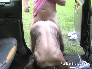 Tattooed busty amateur gets anal in cab in public