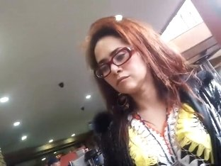 Hippie lady wears an interesting shirt
