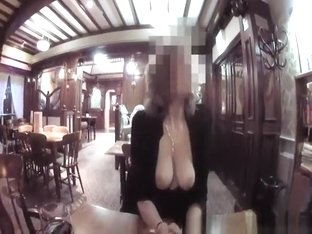 Exhibitionist tits out in restaurant