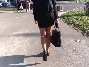 I filmed walking sexi secretary