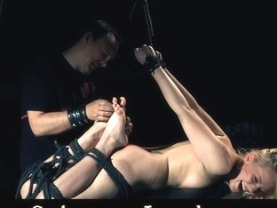 Blonde hogtie whore tormented and pleasured