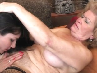 Four concupiscent old and youthful lesbos wild fuck