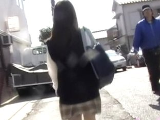 Oriental bimbos experiencing sharking attack after leaving her workplace