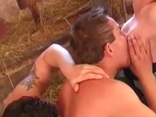 Hot redhead joins horny bi-male couple
