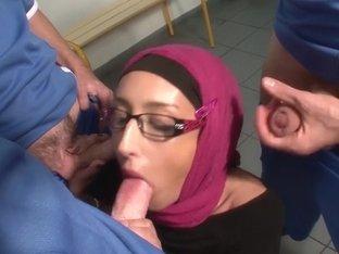 Horny Arab bitch gets a gang bang fuck