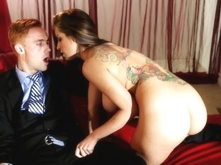 Busty brunette does dirty blowjob to her horny boss