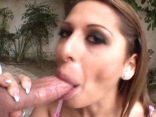 Alison Star corrupts a member of a jury by sucking his lucky cock