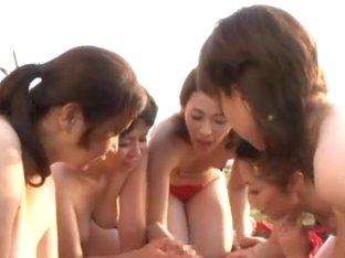 Alluring Japanese AV models in POV outdoor masturbation