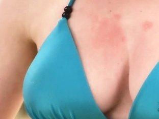 Naughty blonde babe Shannon Reid masturbates outdoor