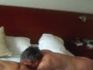 Horny husband eating his wife's mature pussy for lunch