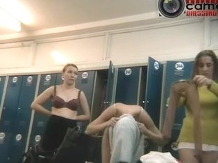 Girls exposed after workout in a spy changing room cam video