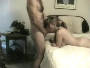 Blonde milf has wild sex with her husband on the bed