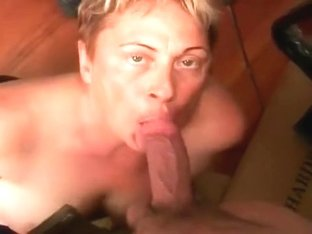 Short-haired granny sucks my juicy cock until she gets a facial