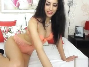 Brunette AnnJoyRide on the bed