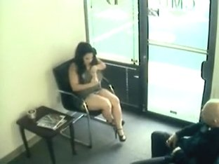 Couple filmed by a security cam in a waiting room