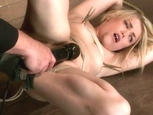 Manhandled, crotch roped & cums so hard, her eyes roll up into the back of her head! Brutal orgasm.
