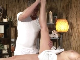 Masseur fucks brunette and cums twice in a row
