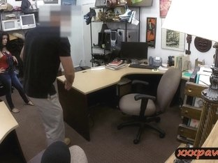 Crazy latina bitch dicked down in the pawnshop to earn cash