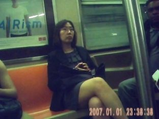 sexy asain milf on train