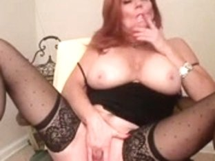 Hawt Redhead Older Smokin' and Playing